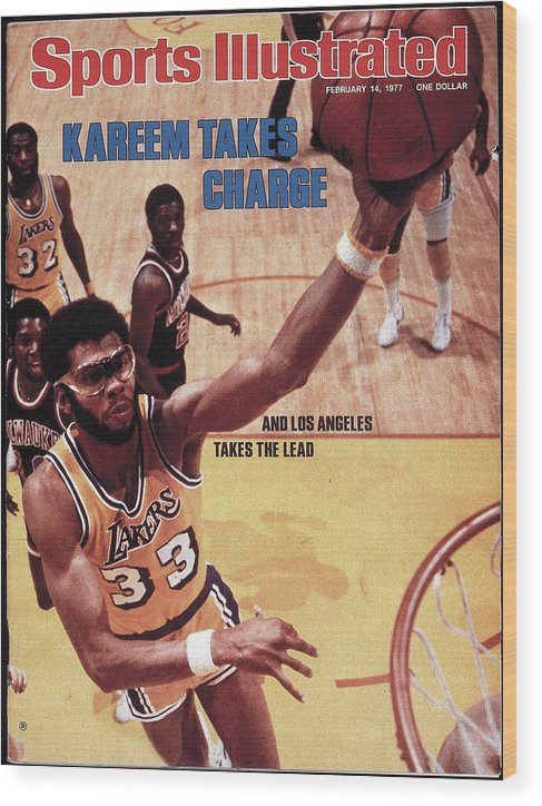 Magazine Cover Wood Print featuring the photograph Los Angeles Lakers Kareem Abdul-jabbar Sports Illustrated Cover by Sports Illustrated
