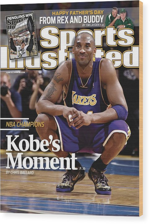 Magazine Cover Wood Print featuring the photograph Los Angeles Lakers Kobe Bryant, 2009 Nba Finals Sports Illustrated Cover by Sports Illustrated