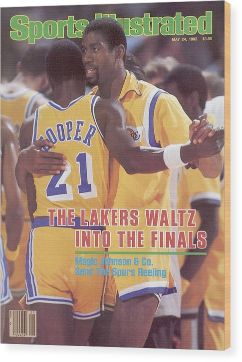 Magazine Cover Wood Print featuring the photograph Los Angeles Lakers Magic Johnson, 1982 Nba Western Sports Illustrated Cover by Sports Illustrated