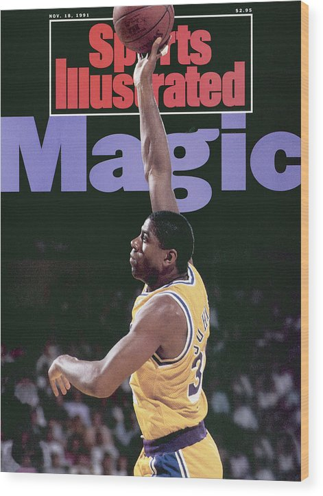 Playoffs Wood Print featuring the photograph Los Angeles Lakers Magic Johnson, 1990 Nba Western Sports Illustrated Cover by Sports Illustrated
