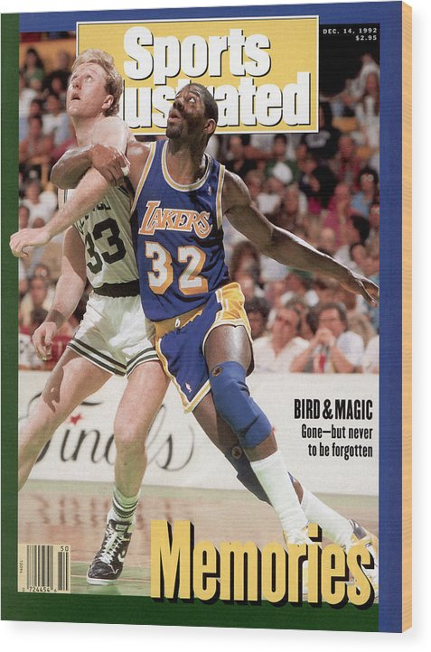 Playoffs Wood Print featuring the photograph Los Angeles Lakers Magic Johnson And Boston Celtics Larry Sports Illustrated Cover by Sports Illustrated