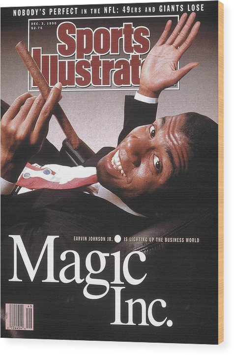 Magazine Cover Wood Print featuring the photograph Los Angeles Lakers Magic Johnson Sports Illustrated Cover by Sports Illustrated
