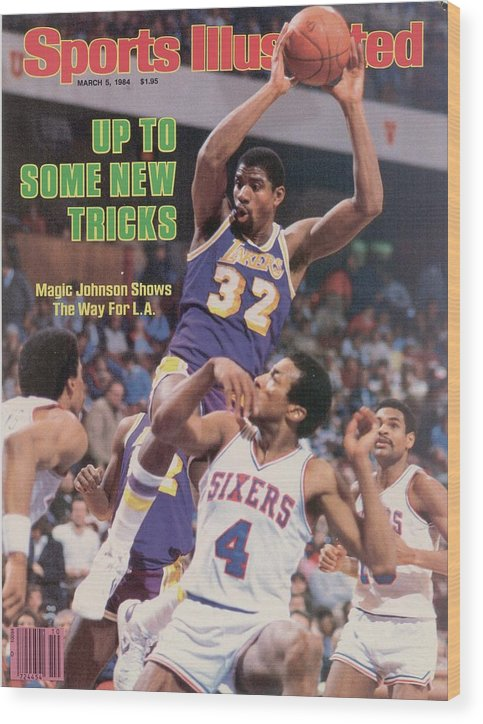 1980-1989 Wood Print featuring the photograph Los Angeles Lakers Magic Johnson... Sports Illustrated Cover by Sports Illustrated