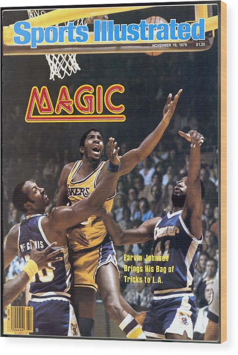 Magazine Cover Wood Print featuring the photograph Los Angeles Lakers Magic Johnson... Sports Illustrated Cover by Sports Illustrated