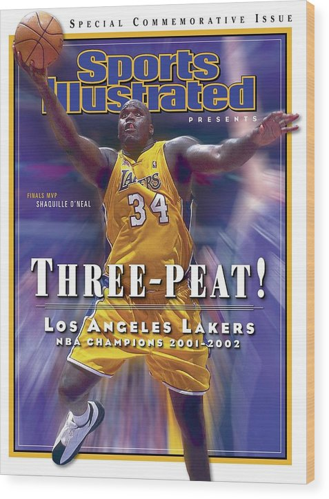Magazine Cover Wood Print featuring the photograph Los Angeles Lakers Shaquille Oneal, 2001 - 2002 Nba Sports Illustrated Cover by Sports Illustrated