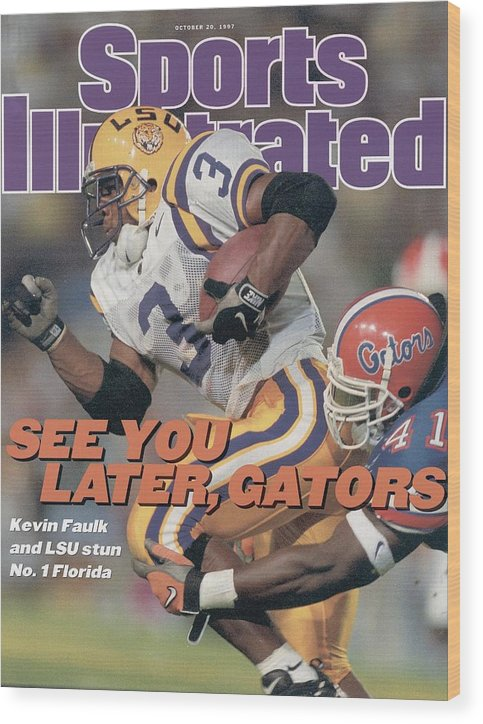 Magazine Cover Wood Print featuring the photograph Louisiana State University Kevin Faulk Sports Illustrated Cover by Sports Illustrated