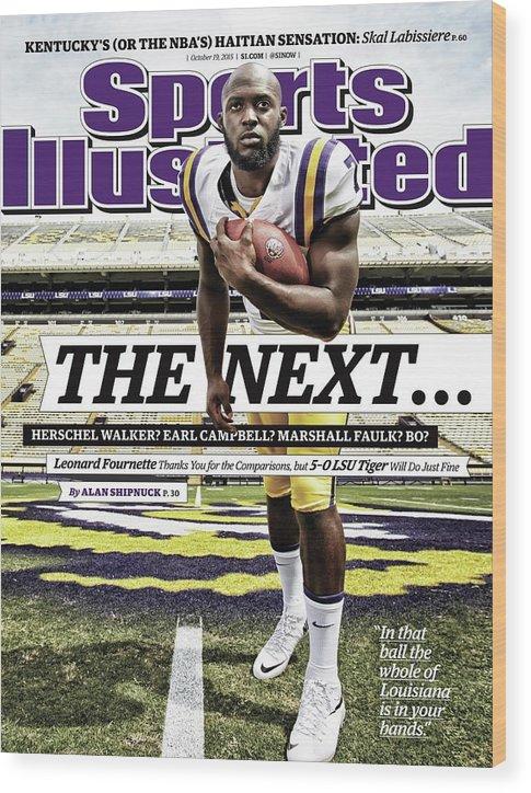 Magazine Cover Wood Print featuring the photograph Louisiana State University Leonard Fournette Sports Illustrated Cover by Sports Illustrated
