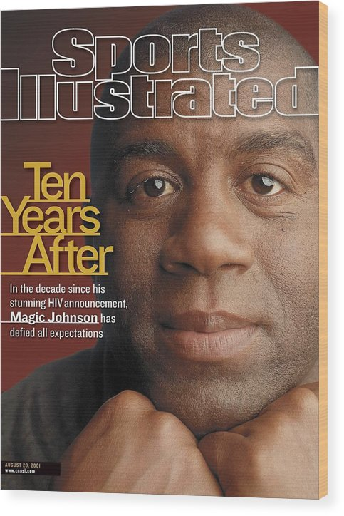Magazine Cover Wood Print featuring the photograph Magic Johnson, Basketball Sports Illustrated Cover by Sports Illustrated