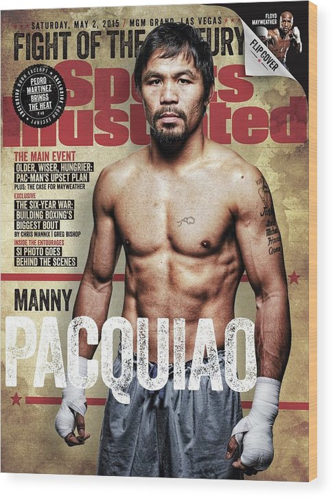 Event Wood Print featuring the photograph Manny Pacquiao, 2015 Wbawbcwbo Welterweight Title Preview Sports Illustrated Cover by Sports Illustrated