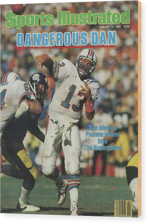 Playoffs Wood Print featuring the photograph Miami Dolphins Qb Dan Marino, 1985 Afc Championship Sports Illustrated Cover by Sports Illustrated