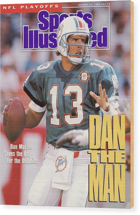 Playoffs Wood Print featuring the photograph Miami Dolphins Qb Dan Marino, 1991 Afc Wild Card Playoffs Sports Illustrated Cover by Sports Illustrated