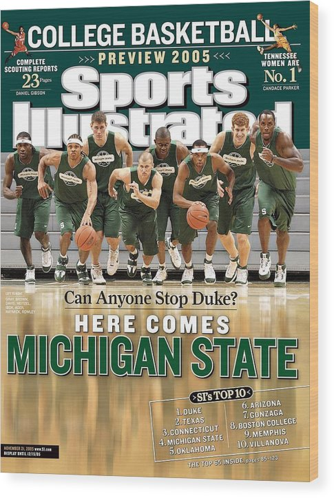 Michigan State University Wood Print featuring the photograph Michigan State University Basketball Team Sports Illustrated Cover by Sports Illustrated