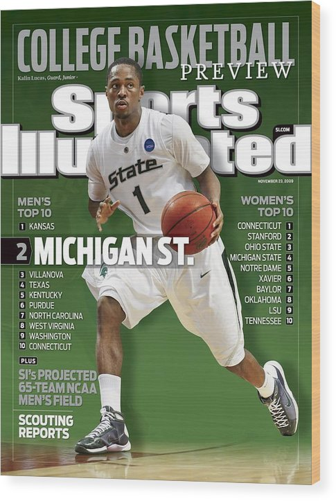 Hubert H. Humphrey Metrodome Wood Print featuring the photograph Michigan State University Kalin Lucas, 2009 Ncaa Midwest Sports Illustrated Cover by Sports Illustrated