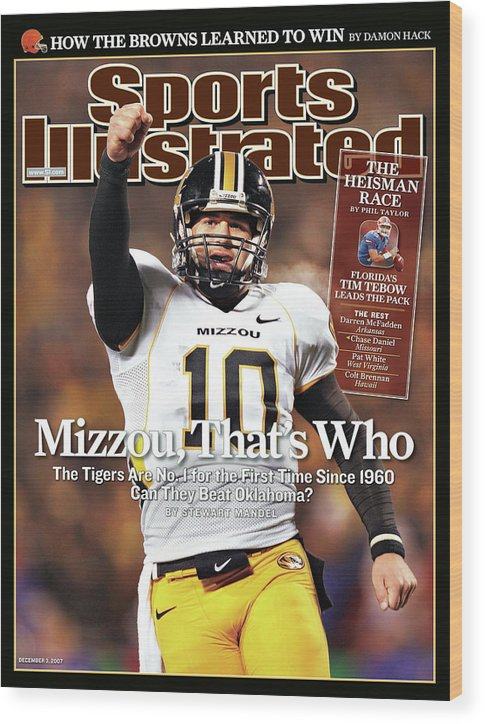 Magazine Cover Wood Print featuring the photograph Missouri University Qb Chase Daniel by Sports Illustrated Cover