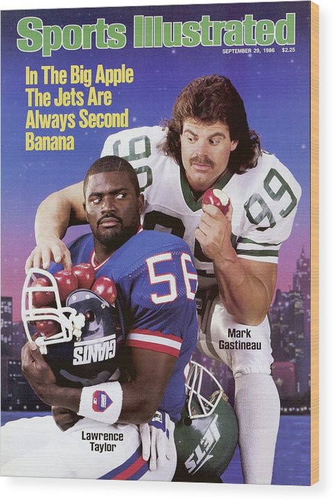 Magazine Cover Wood Print featuring the photograph New York Giants Lawrence Taylor And New York Jets Mark Sports Illustrated Cover by Sports Illustrated