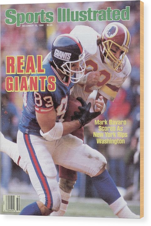 Magazine Cover Wood Print featuring the photograph New York Giants Mark Bavaro... Sports Illustrated Cover by Sports Illustrated
