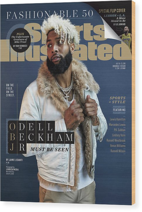 Magazine Cover Wood Print featuring the photograph New York Giants Odell Beckham Jr., 2018 Fashionable 50 Issue Sports Illustrated Cover by Sports Illustrated