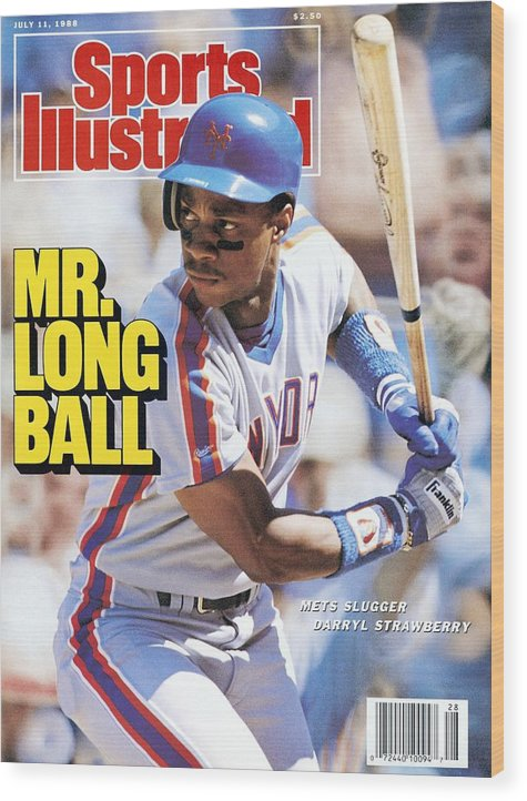 Magazine Cover Wood Print featuring the photograph New York Mets Darryl Strawberry... Sports Illustrated Cover by Sports Illustrated