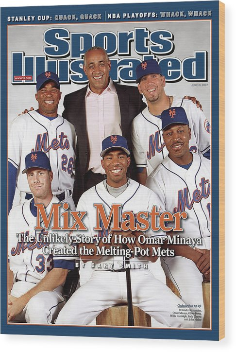 Magazine Cover Wood Print featuring the photograph New York Mets Gm Omar Minaya, Orlando Hernandez, Oliver Sports Illustrated Cover by Sports Illustrated