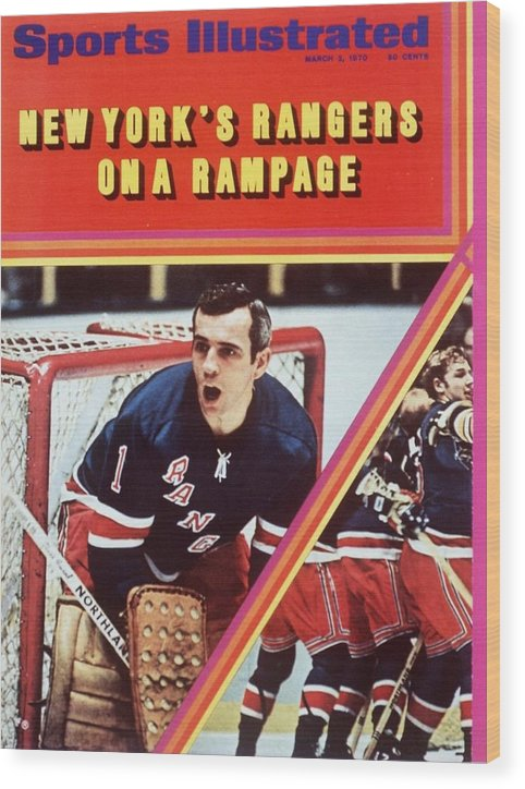 Magazine Cover Wood Print featuring the photograph New York Rangers Goalie Ed Giacomin And Jean Ratelle Sports Illustrated Cover by Sports Illustrated