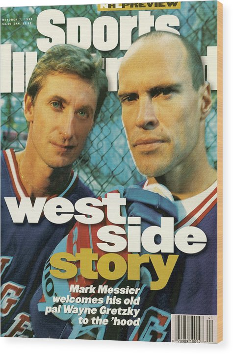 Magazine Cover Wood Print featuring the photograph New York Rangers Mark Messier And Wayne Gretzky Sports Illustrated Cover by Sports Illustrated