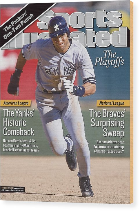 Magazine Cover Wood Print featuring the photograph New York Yankees Derek Jeter, 2001 Al Division Series Sports Illustrated Cover by Sports Illustrated