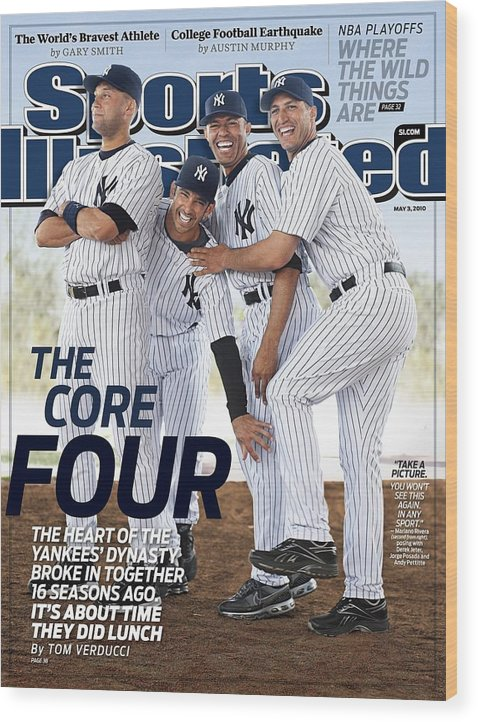 American League Baseball Wood Print featuring the photograph New York Yankees Derek Jeter, Jorge Posada, Mariano Rivera Sports Illustrated Cover by Sports Illustrated