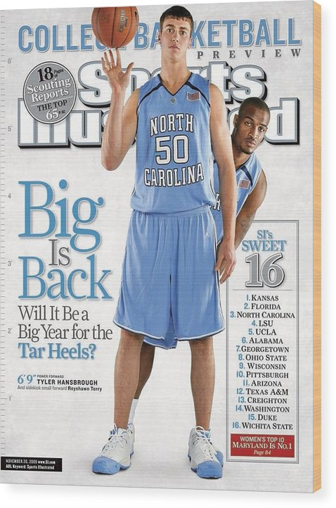North Carolina Wood Print featuring the photograph North Carolina Tyler Hansbrough And Reyshawn Terry Sports Illustrated Cover by Sports Illustrated