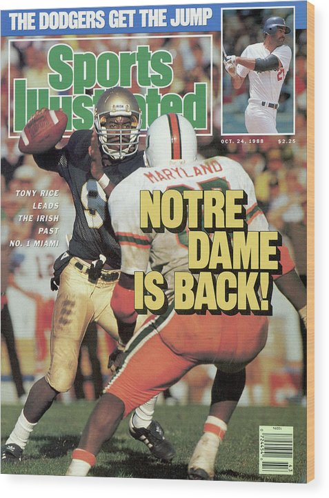 1980-1989 Wood Print featuring the photograph Notre Dame Is Back Tony Rice Leads The Irish Past No. 1 Sports Illustrated Cover by Sports Illustrated