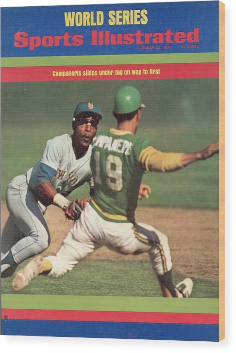 Magazine Cover Wood Print featuring the photograph Oakland Athletics Bert Campaneris, 1973 World Series Sports Illustrated Cover by Sports Illustrated