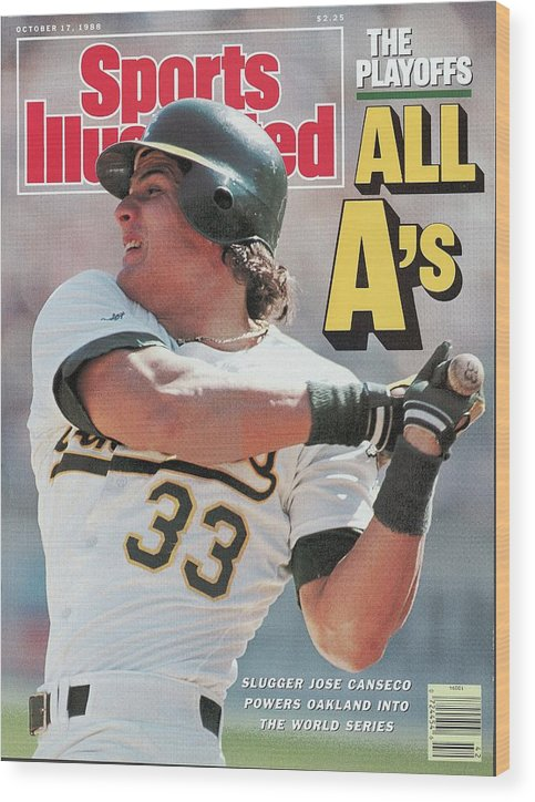 Playoffs Wood Print featuring the photograph Oakland Athletics Jose Canseco, 1988 Al Championship Series Sports Illustrated Cover by Sports Illustrated