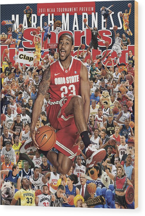 Sports Court Wood Print featuring the photograph Ohio State University David Lighty, 2011 March Madness Sports Illustrated Cover by Sports Illustrated