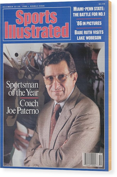 Magazine Cover Wood Print featuring the photograph Penn State Coach Joe Paterno, 1986 Sportsman Of The Year Sports Illustrated Cover by Sports Illustrated