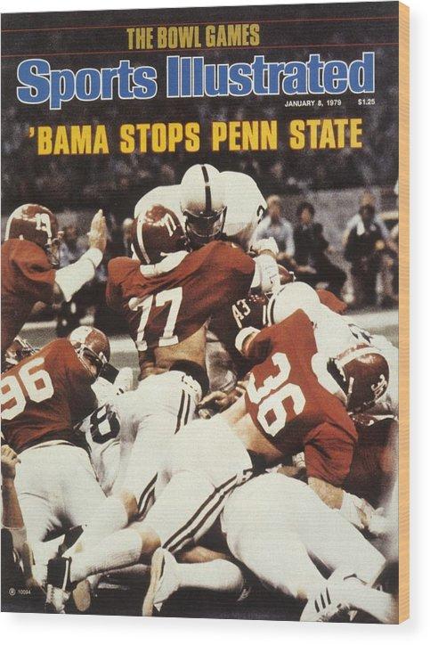 Magazine Cover Wood Print featuring the photograph Penn State Mike Guman, 1979 Sugar Bowl Sports Illustrated Cover by Sports Illustrated