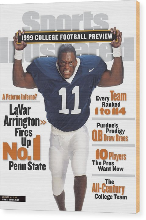 Season Wood Print featuring the photograph Penn State University Lavar Arrington, 1999 College Sports Illustrated Cover by Sports Illustrated