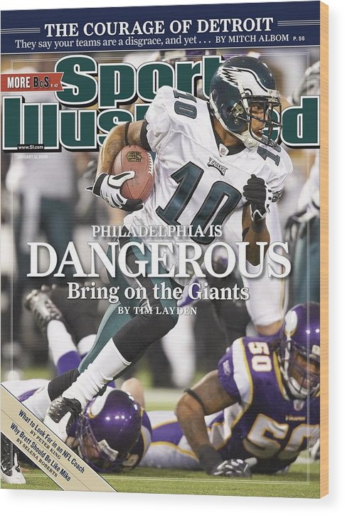 Hubert H. Humphrey Metrodome Wood Print featuring the photograph Philadelphia Eagles Desean Jackson, 2009 Nfc Wild Card Sports Illustrated Cover by Sports Illustrated