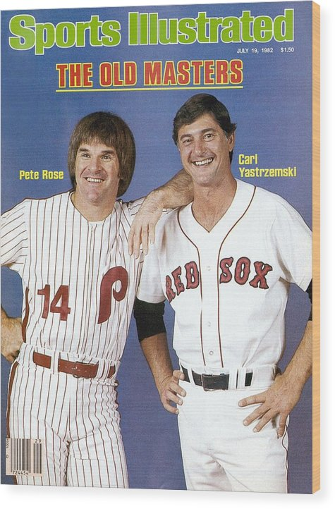 1980-1989 Wood Print featuring the photograph Philadelphia Phillies Pete Rose And Boston Red Sox Carl Sports Illustrated Cover by Sports Illustrated