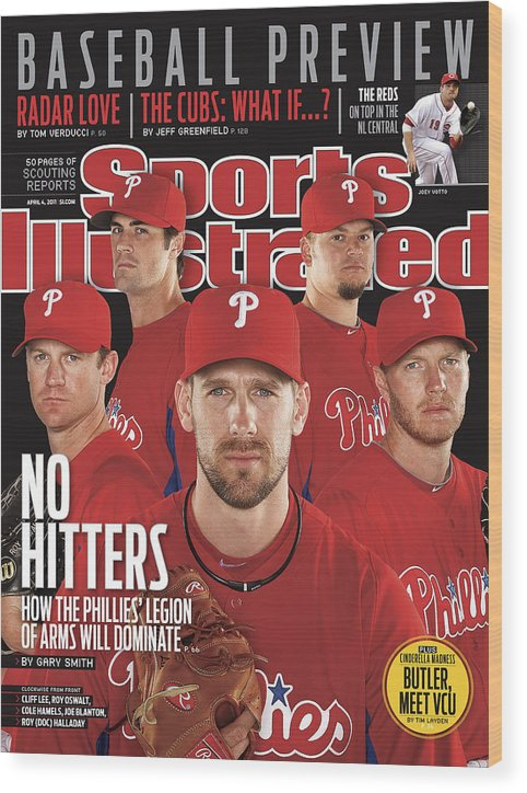 Clearwater Wood Print featuring the photograph Philladelphia Phillies Starting Five, 2011 Mlb Baseball Sports Illustrated Cover by Sports Illustrated