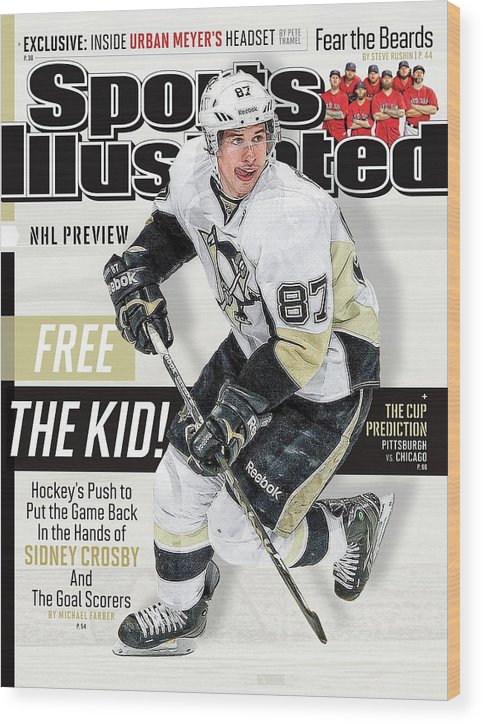Magazine Cover Wood Print featuring the photograph Pittsburgh Penguins Sidney Crosby, 2013-14 Nhl Hockey Sports Illustrated Cover by Sports Illustrated