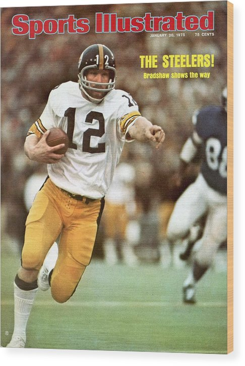 Sports Illustrated Wood Print featuring the photograph Pittsburgh Steelers Qb Terry Bradshaw, Super Bowl Ix Sports Illustrated Cover by Sports Illustrated