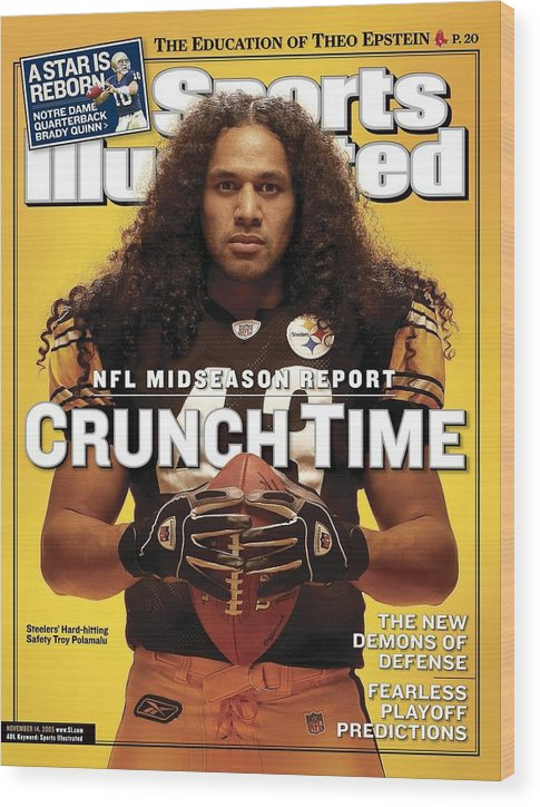 Sports Illustrated Wood Print featuring the photograph Pittsburgh Steelers Troy Polamalu Sports Illustrated Cover by Sports Illustrated