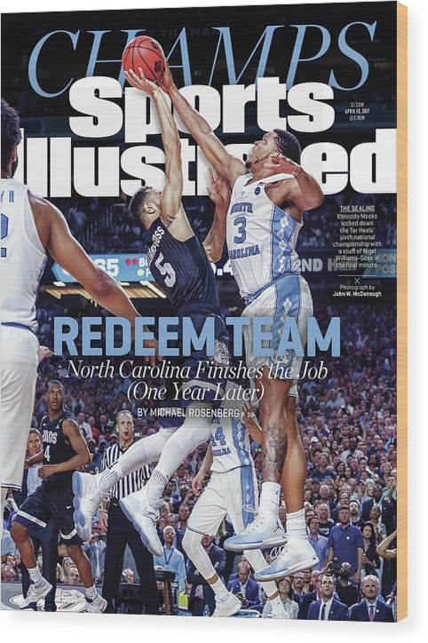Sports Illustrated Wood Print featuring the photograph Redeem Team North Carolina Finishes The Job one Year Later Sports Illustrated Cover by Sports Illustrated