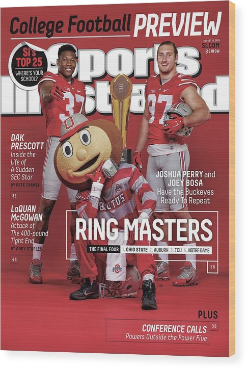 Magazine Cover Wood Print featuring the photograph Ring Masters 2015 College Football Preview Issue Sports Illustrated Cover by Sports Illustrated