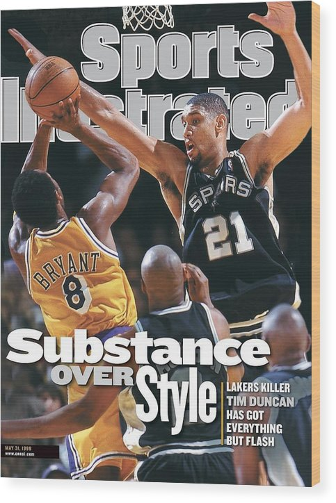 Playoffs Wood Print featuring the photograph San Antonio Spurs Tim Duncan, 1999 Nba Western Conference Sports Illustrated Cover by Sports Illustrated