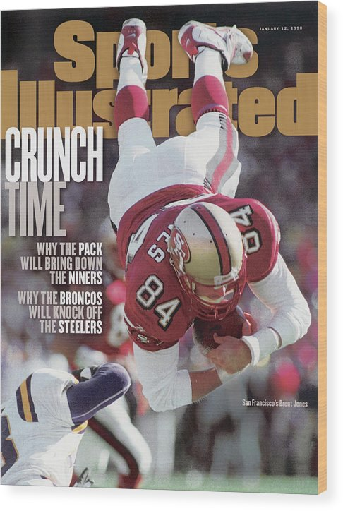 Candlestick Park Wood Print featuring the photograph San Francisco 49ers Brent Jones, 1998 Nfc Divisional Sports Illustrated Cover by Sports Illustrated