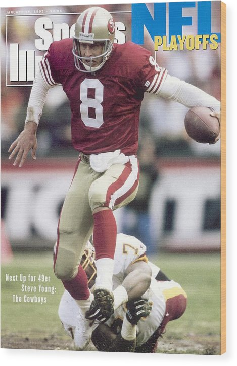 Magazine Cover Wood Print featuring the photograph San Francisco 49ers Qb Steve Young, 1993 Nfc Divisional Sports Illustrated Cover by Sports Illustrated