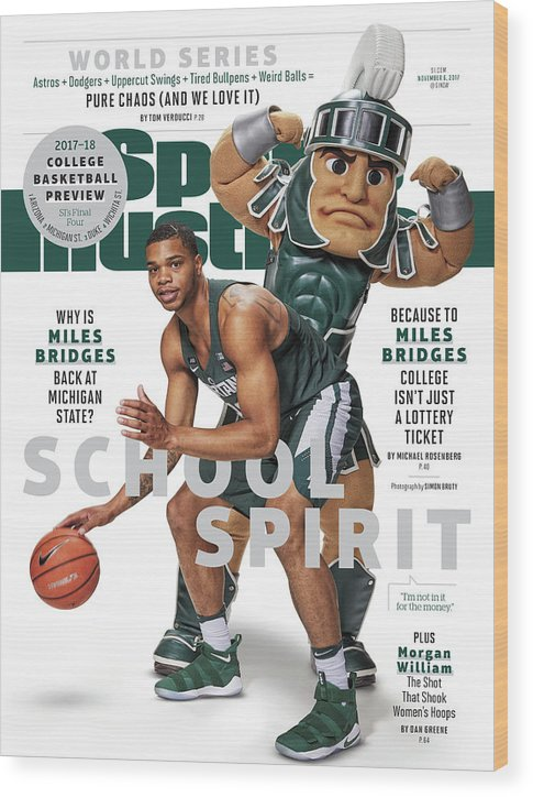 Michigan State University Wood Print featuring the photograph School Spirit 2017-18 College Basketball Preview Issue Sports Illustrated Cover by Sports Illustrated