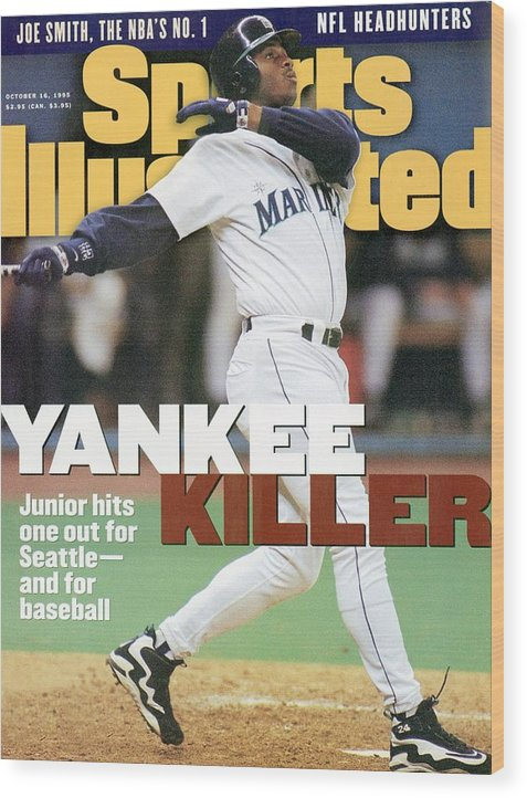 Magazine Cover Wood Print featuring the photograph Seattle Mariners Ken Griffey Jr, 1995 Al Division Series Sports Illustrated Cover by Sports Illustrated