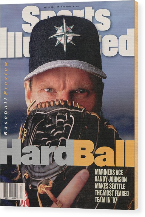 Magazine Cover Wood Print featuring the photograph Seattle Mariners Randy Johnson, 1997 Mlb Baseball Preview Sports Illustrated Cover by Sports Illustrated