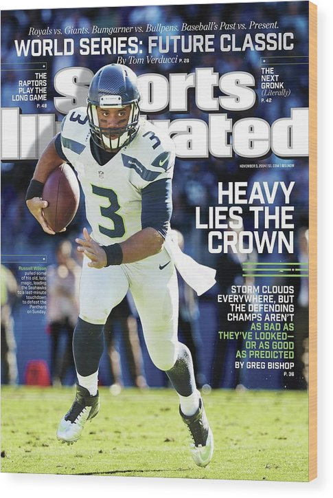 Magazine Cover Wood Print featuring the photograph Seattle Seahawks Heavy Lies The Crown Sports Illustrated Cover by Sports Illustrated